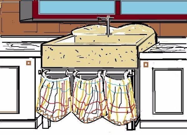 Lavello in pietra di marmo interposto tra i mobili della cucina