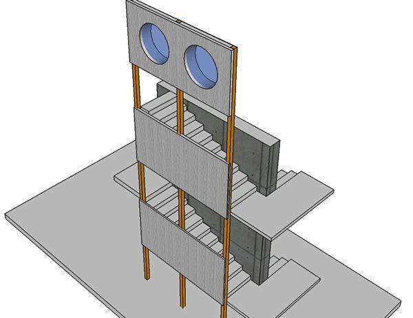 Scala con setto centrale e montanti esterni in metallo