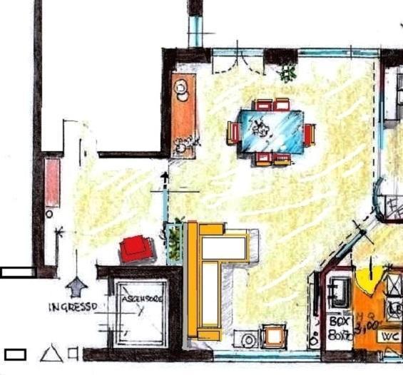 Divisione tra ingresso e soggiorno con divisorio vetrato: pianta di progetto