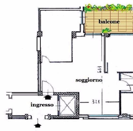 Ingresso e soggiorno prima della divisione: pianta stato dei luoghi