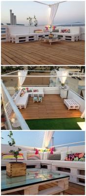 Progetto divano e tavolo per terrazza in pallet di 101pallets.com