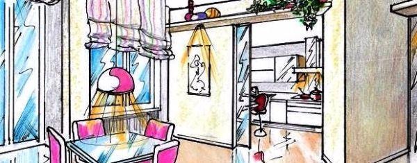 La cucina e il soggiorno progettati come due ambienti separati