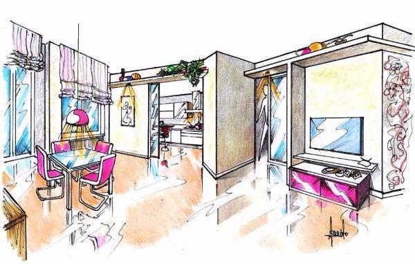Disegno prospettico di salone e cucina separati ma intercomunicanti