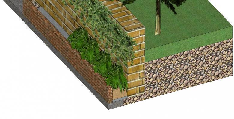 Consolidamento muri controterra: particolare stratigrafico intervento