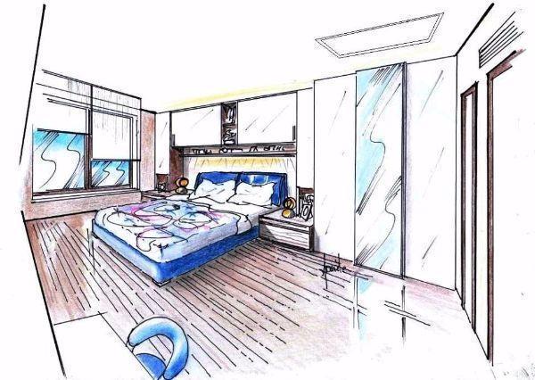 Camera da letto con armadio a ponte - Disegni parete camera da letto ...
