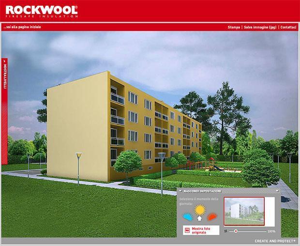 Rifacimento facciata con simulatore di Rockwool