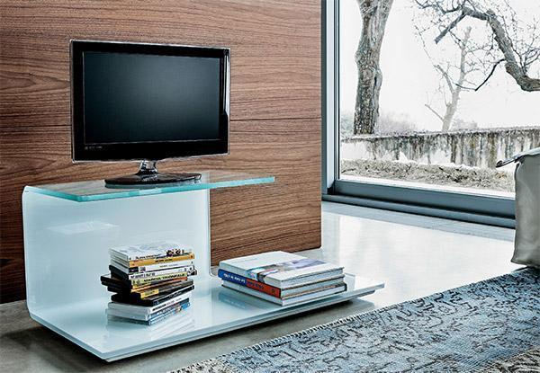 Porta TV in vetro, modello TOBY di SOVETITALIA