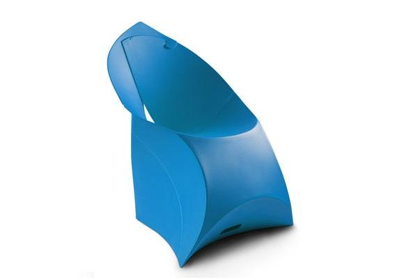 Poltrona pieghevole Flux Chair blu aperta di Flux