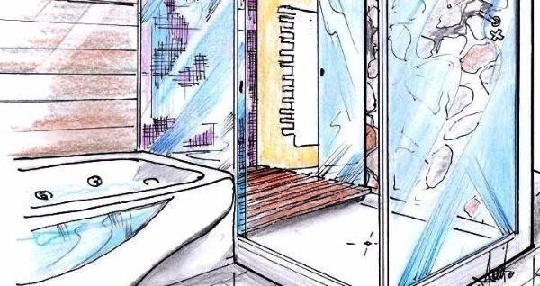 Bagno con vasca più cabina doccia