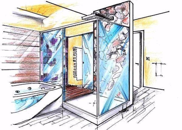 Disegno in 3D per bagno con vasca e doccia