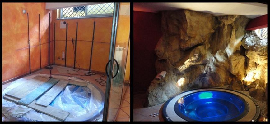 Rocce artificiali prima e dopo interno di ARTSTONE