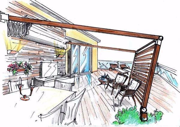 Vista prospettica di living da esterno con pergola in terrazza