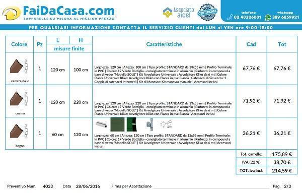 Faidacasa: Preventivo tapparelle esempio