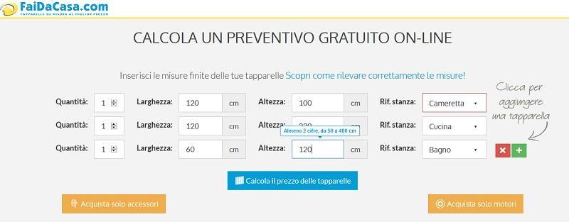 Prezzo tapparelle: Configuratore online Faidacasa