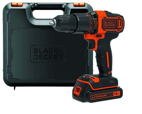 Trapano avvitatore a percussione 18V Litio di Black+ Decker.