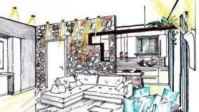 Progettare una parete in pietra fra soggiorno e cucina