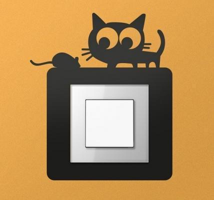 Adesivo per interruttore Gatto e topo di Tenstickers