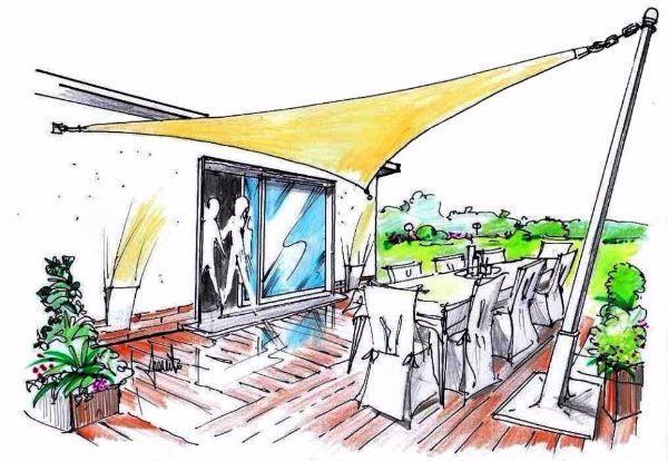 Tenda a vela parasole per ombreggiare gli spazi all'aperto