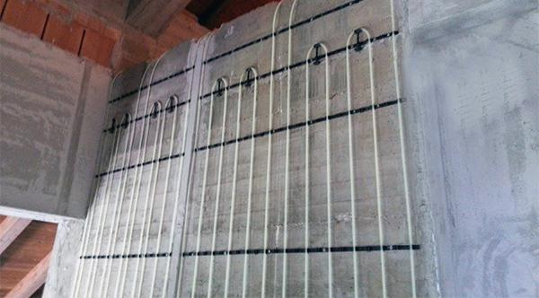 Pannello radiante a parete: si nota molto bene la serpentina. Dal sito dell'azienda Rossato Group.