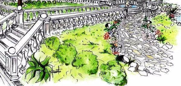 ... aiuola con bordure in pietra fa da cornice al vialetto del giardino