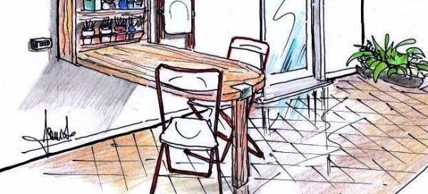 Tavolo a muro da esterno