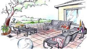 Idea progettuale per un salotto da giardino in metallo