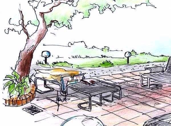 Tavolino con funzione chaise longue e portariviste, nel salotto da giardino