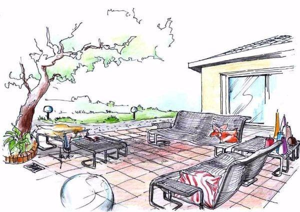 Arredo giardino con divani e tavolini metallici