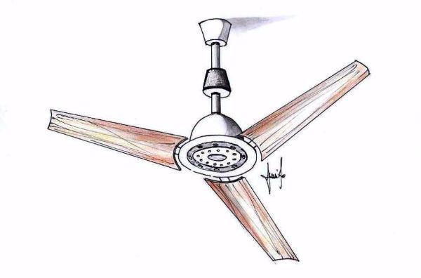 Disegno di ventilatore da soffitto a pale in legno
