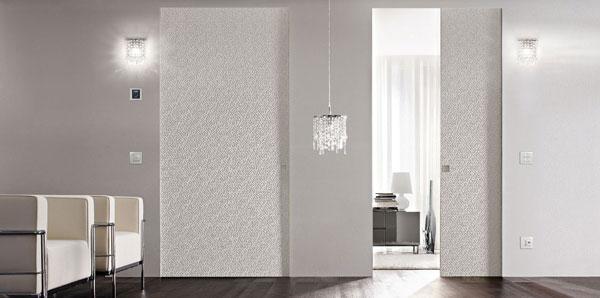 Porte a scomparsa filo muro di Eclisse, modello Syntesis® Luce
