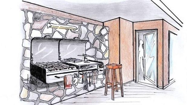 Un barbecue da parete per attrezzare lo spazio esterno