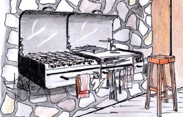 Barbecue portatile da parete con piano servitore gemello