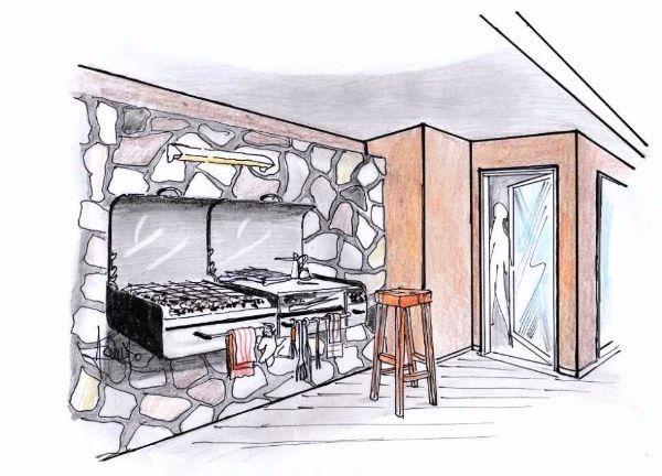 Vista prospettica di barbecue da muro con piano gemello servitore