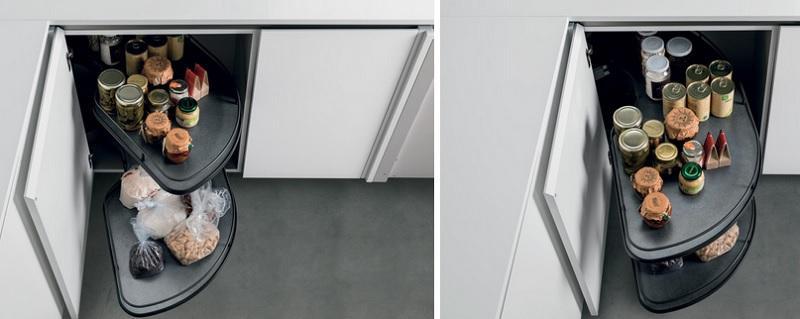 Cestelli girevoli modello Freedom per cucina ad angolo