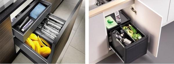 Contenitori raccolta differenziata: Blanco, soluzioni per cestoni estraibili e per base con ante