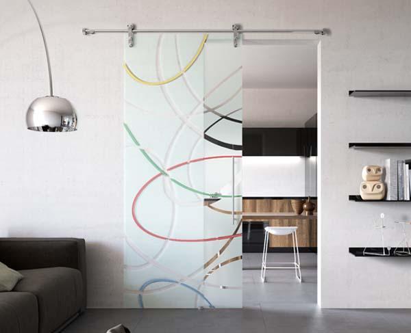 Porte scorrevoli in cristallo monoanta di MR art design