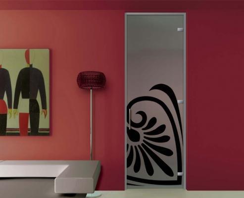 Porta in vetro laccata con disegno di MR art design