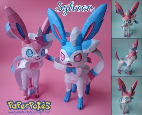 Pokémon Sylveon realizzato con Papercraft