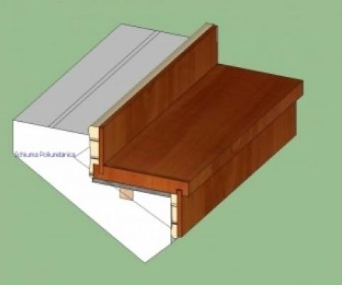 Particolare scalino rivestito con materiali diversi