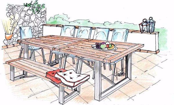 Disegno di zona pranzo da esterno, in legno e ghisa