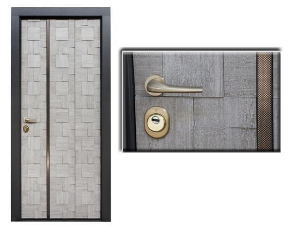 Porte blindate di Estetic Fer Style con creativi pannelli in gres porcellanato