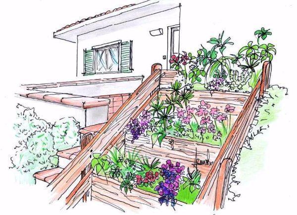 Disegno di fioriere in legno a scala