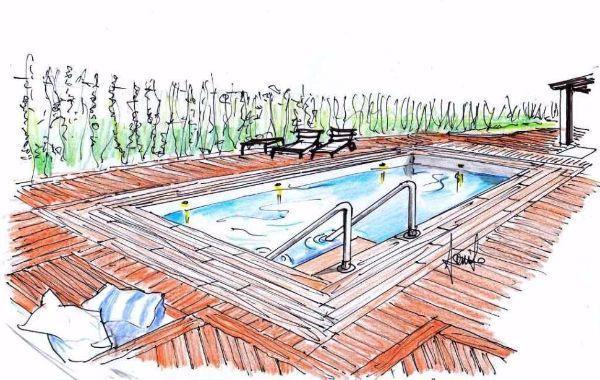 Prospettiva di pavimentazione bordo piscina, in gres effetto legno