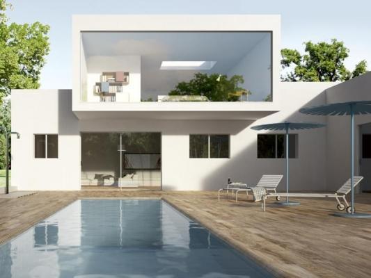 Ambientazione bordo piscina di villa con pavimenti IN&OUT gres effetto legno