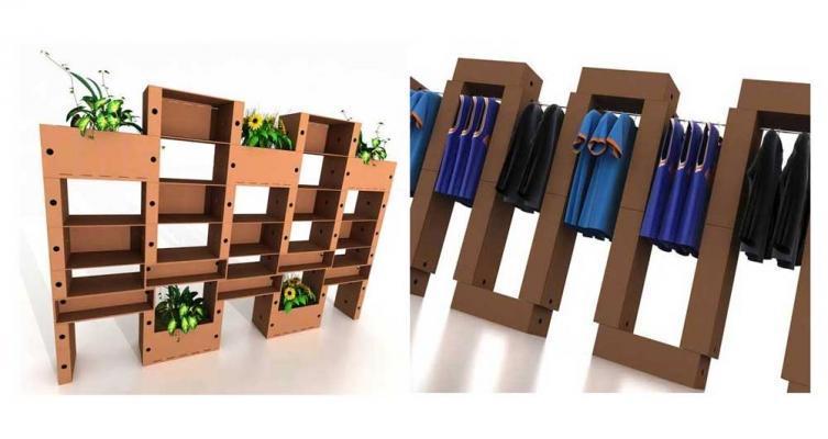 Arredi modulari in cartone by Lessmore