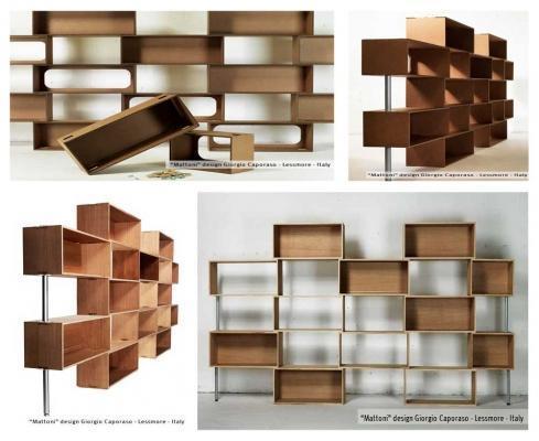 Librerie Mattoni e arredi in cartone by Lessmore