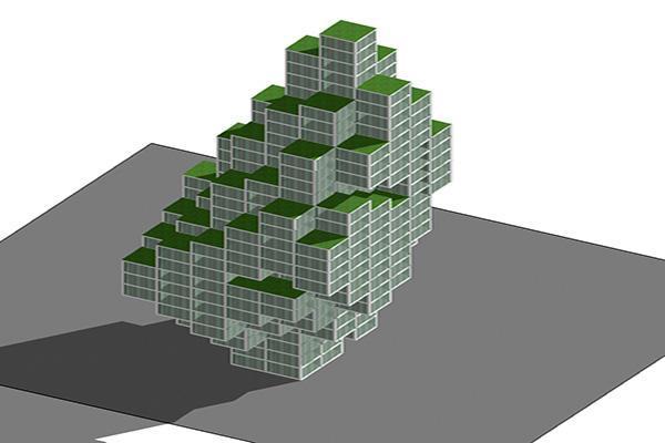 Schema di edificio con forme e volumetrie complesse