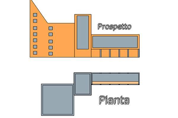 Progetto edificio forma articolata