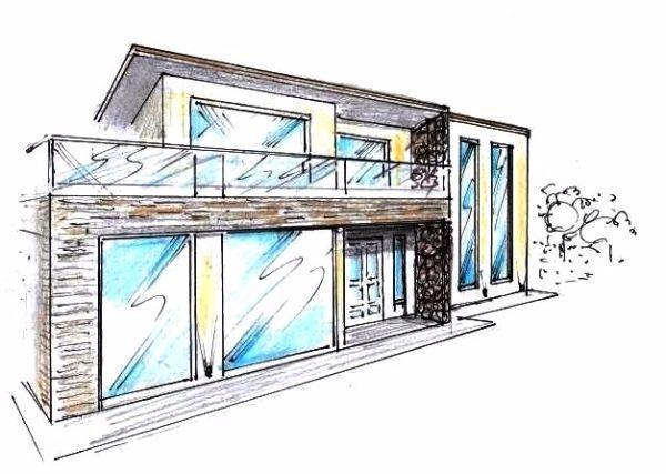 Prospetto di villa con terrazzo e parapetti tutto vetro