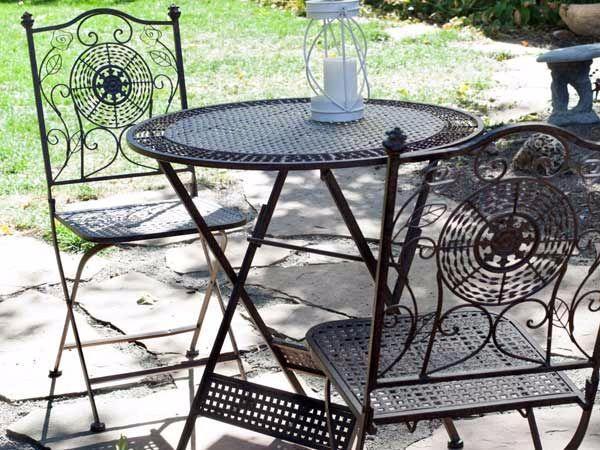 Tavolino da caffè in ferro battuto con sedie di Stilfer